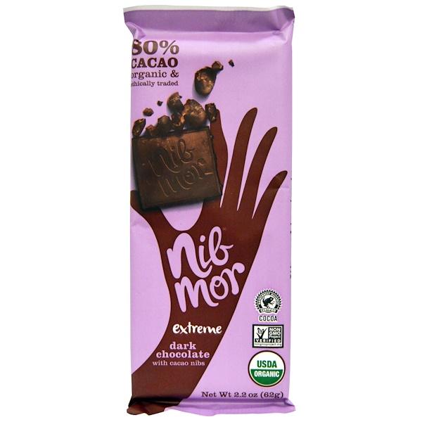 Nibmor, Organic, Dark Chocolate, with Cacao Nibs, Extreme, 2.2 oz (62 g)