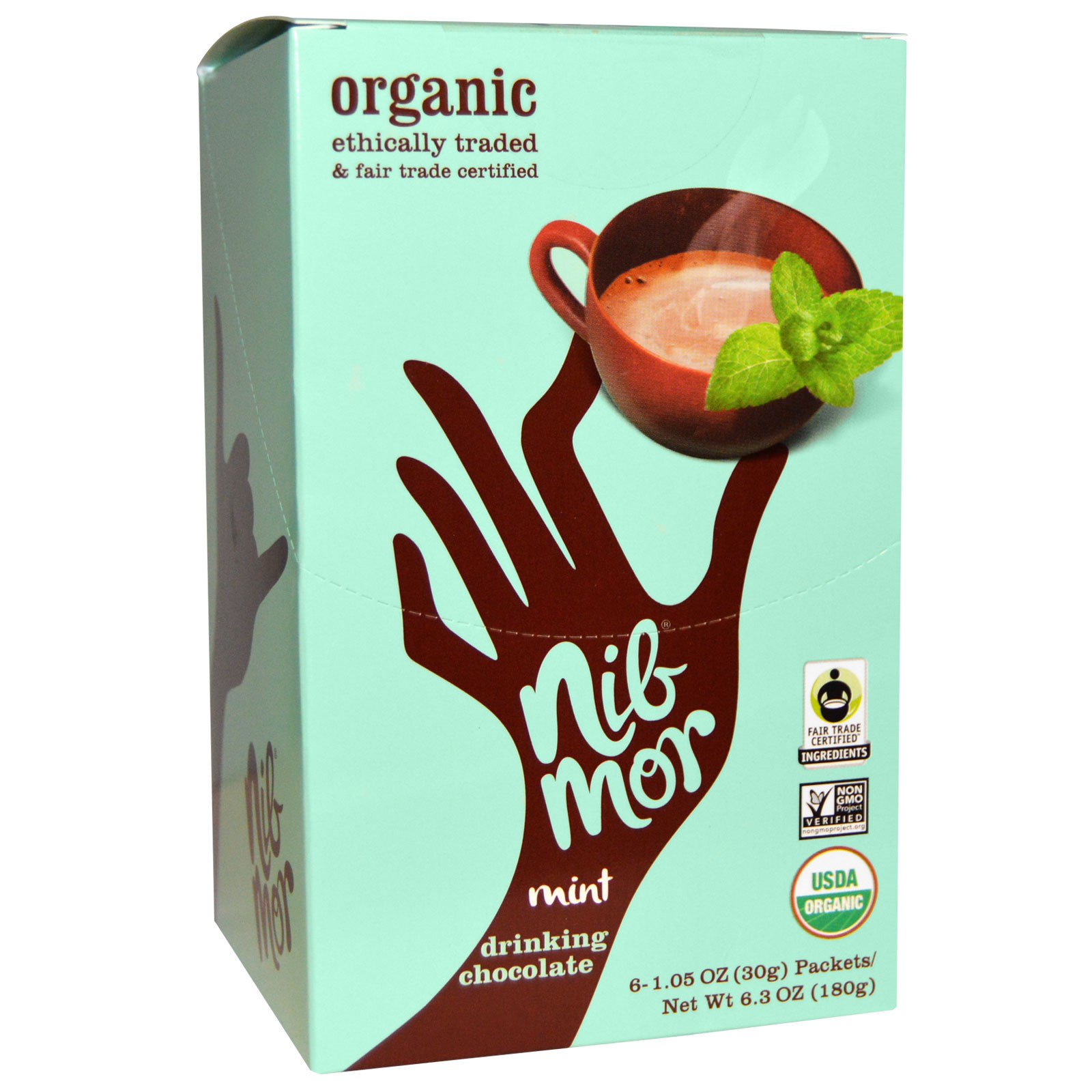 Nibmor, Органический Шоколадный напиток с мятой, 6 пакетов по 1,05 унции (30 г)