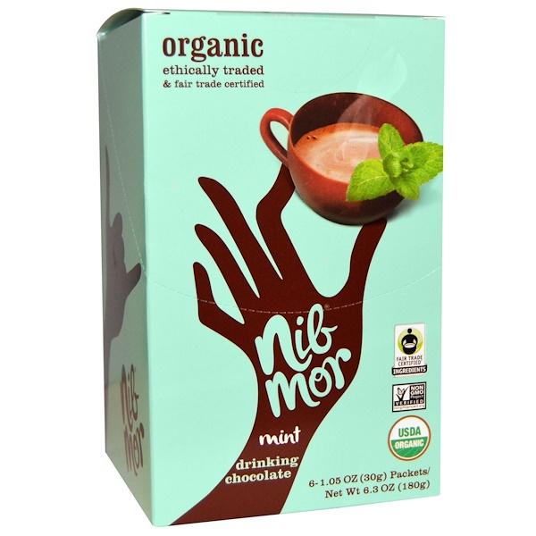 Nibmor, Organic Drinking Chocolate, Mint,  6 Packets, 1、05 oz (30 g) Each