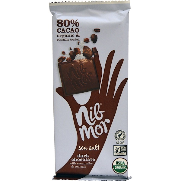 Nibmor, Organic, Dark Chocolate, with Cacao Nibs & Sea Salt, 2.2 oz (62 g) (Discontinued Item)