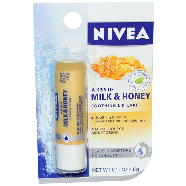 Nivea, Soothing Lip Care, A Kiss of Milk and Honey, .17 oz (4.8 g) (Discontinued Item)