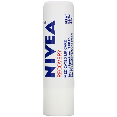 Recovery, Medicated Lip Protectant & Sunscreen, SPF 15, 0.17 oz (4.8 g) face mineral based sunscreen spf 30 5 oz 141 7 g