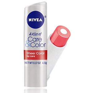 Нивеа, A Kiss of Care & Color, Lip Care, Sheer Coral, 0.17 oz (4.8 g) отзывы