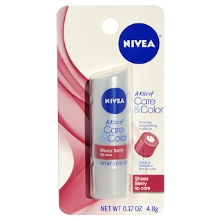 Nivea, A Kiss of Care & Color, уход для губ Sherry Berry, 0.17 унций (4.8 г)
