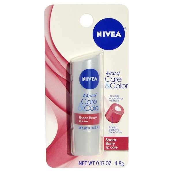 Nivea, A Kiss of Care & Color, уход для губ Sherry Berry, 0.17 унций (4.8 г) (Discontinued Item)