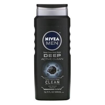 Купить Nivea Men, Deep Clean Body Wash, Deep Active Clean, 16.9 fl oz (500 ml)