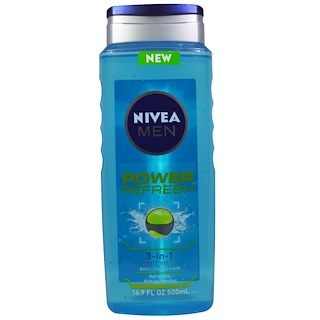 Nivea, Men, 3-in-1 Body Wash, Power Refresh,  16.9 fl oz (500 ml)