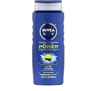Нивеа, Men 3-in-1 Body Wash, Power Refresh, 16.9 fl oz (500 ml) отзывы покупателей