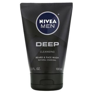 Nivea, 男士深层清洁胡须和面部清洁乳,3.3 盎司(100 毫升)