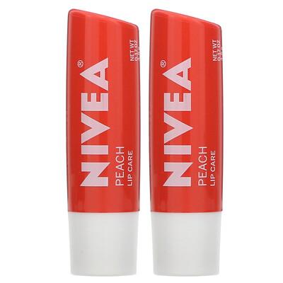 Купить Nivea Tinted Lip Care, Peach, 2 Pack, 0.17 oz (4.8 g) Each