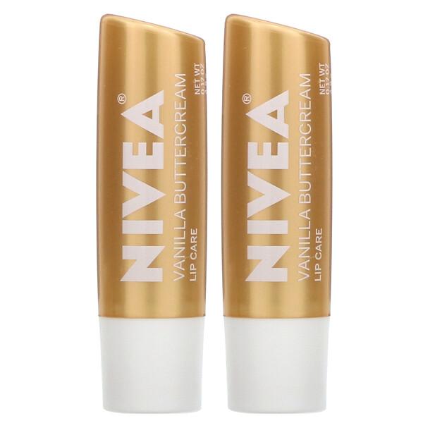 Nivea, Lip Care, Vanilla Buttercream, 2 Pack, 0.17 oz (4.8 g) Each