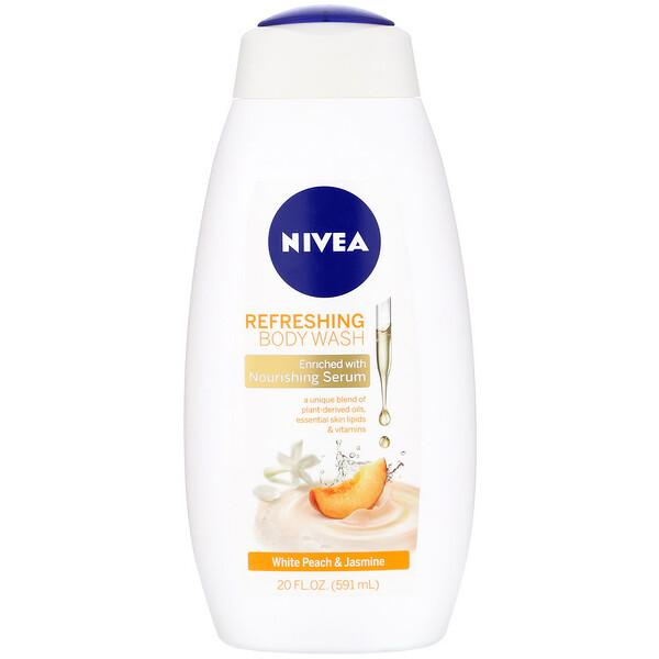 """Nivea, תרחיץ גוף מרענן, אפרסק לבן ויסמין, 591 מ""""ל (20 אונקיות נוזל)"""