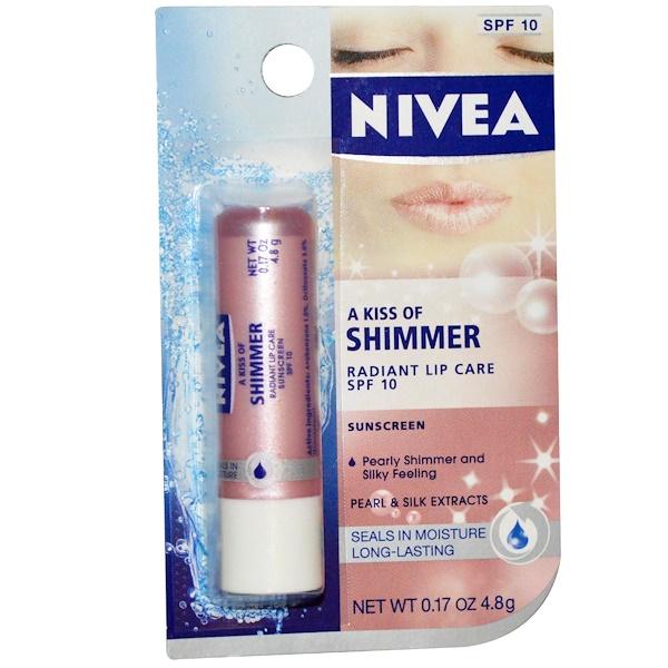 Nivea, A Kiss of Shimmer, Radiant Lip Care, SPF 10, 0.17 oz (4.8 g) (Discontinued Item)