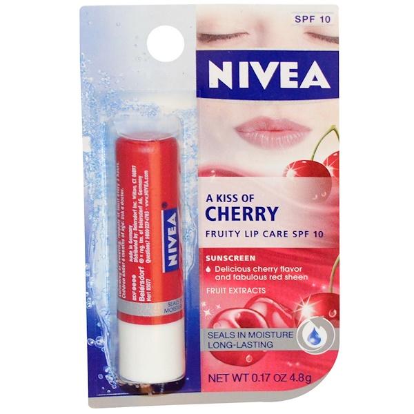 Nivea, A Kiss of Cherry, Fruity Lip Care, SPF 10, 0.17 oz (4.8 g) (Discontinued Item)