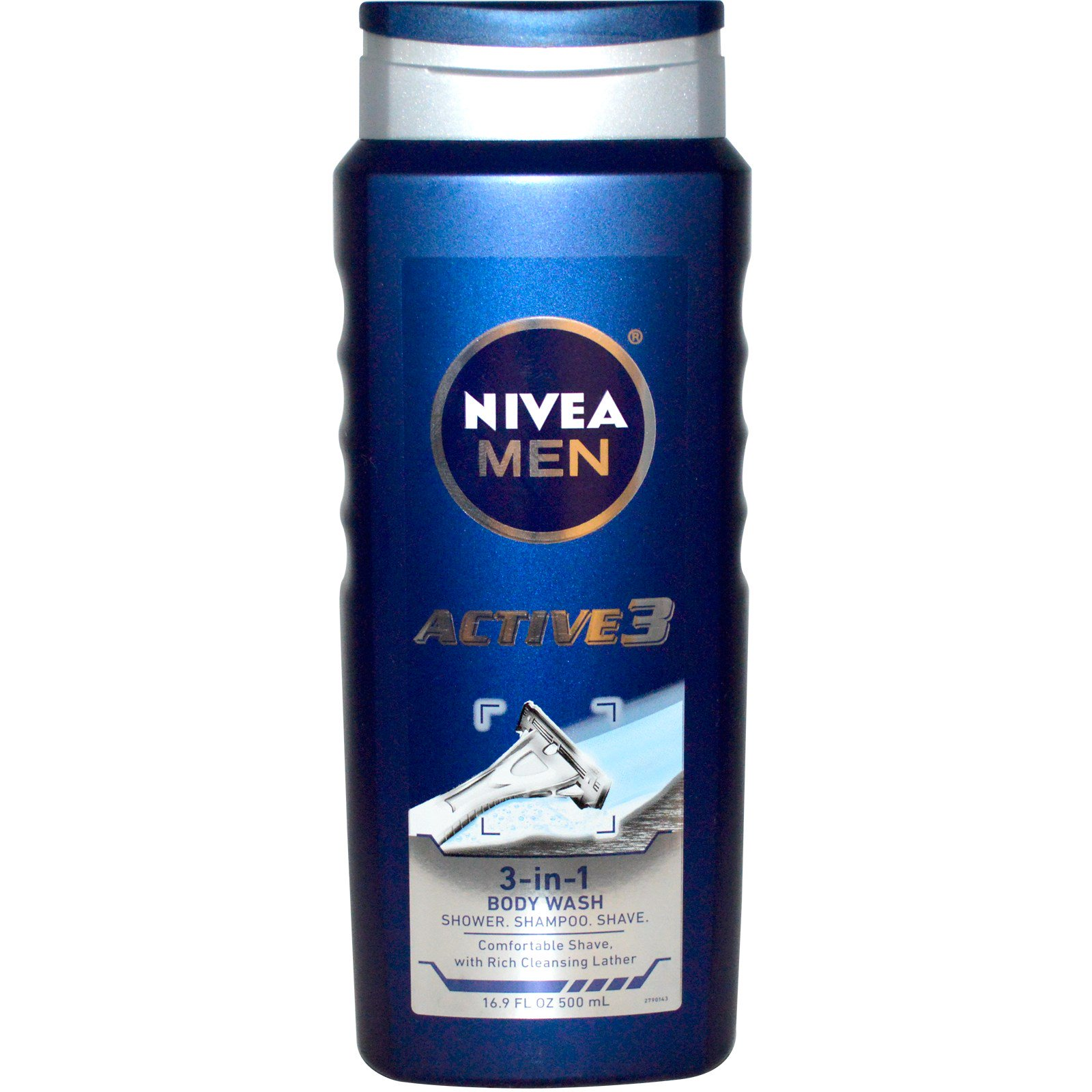 Nivea, Актив 3, Мужской гель для душа 3-в-1, 500 мл (16,9 жидких унций)