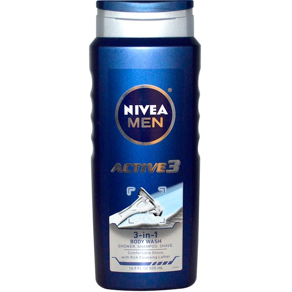Nivea, Men, 3-in-1 Body Wash, Active 3, 16.9 fl oz (500 ml) (Discontinued Item)