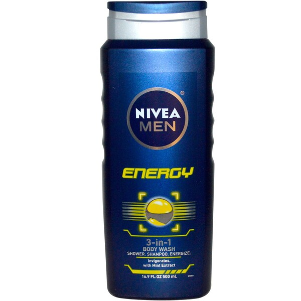 Nivea, 3-in-1 Body Wash, Men, Energy, 16.9 fl oz (500 ml)