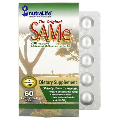 NutraLife The Original SAMe (S-аденозил-L-метионин), 200 мг, 60 таблеток в кишечнорастворимой оболочке