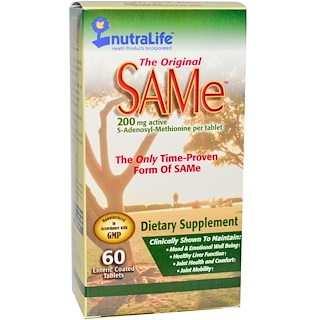 NutraLife, The Original SAM-e (S-Adenosyl-L-Methionine), 200 mg, 60 Enteric Coated Tablets