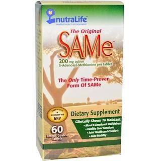 NutraLife, ザ・オリジナル SAMe (S-Adenosyl-L-Methionine), 200 mg, 60 腸溶性錠剤