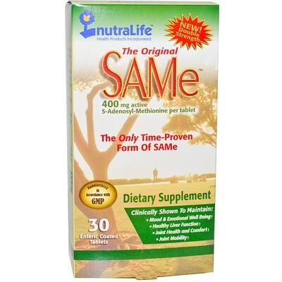 NutraLife The Original SAM-e (S-аденозил-L-метионин), 400 мг, 30 таблеток в кишечнорастворимой оболочке