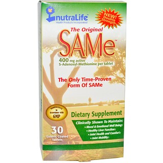 NutraLife, The Original SAM-e (S-Adenosyl-L-Methionine), 400 mg, 30 Enteric Coated Tablets