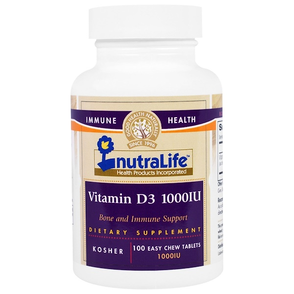 NutraLife, Vitamin D3, 1000 IU, 100 Easy Chew Tablets (Discontinued Item)