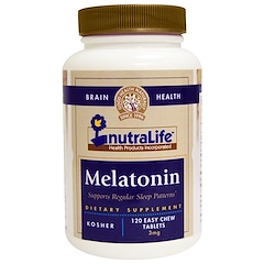 NutraLife, ١٢٠ قرص سهل المضغ ٣ملى غرام من الميلاتونين