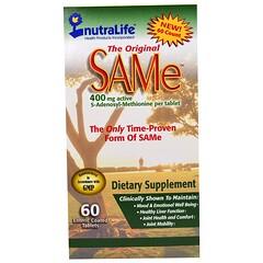 NutraLife, The Original SAM-e (S-Adenosyl-L-Methionine), 400 mg, 60 Enteric Coated Caplets
