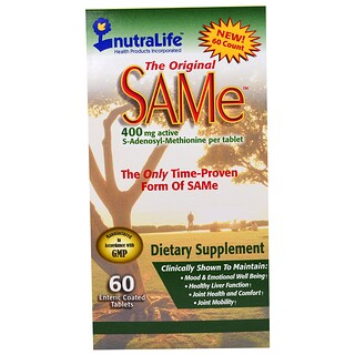 NutraLife, The Original SAM-e (S-Adenosyl-L-Methionine), 400 mg, 60 Enteric Coated Caplets