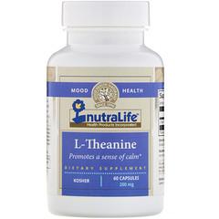 NutraLife, L-茶氨酸,200毫克,60粒膠囊