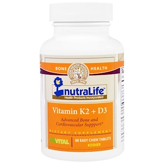 NutraLife, Vitamin K2 + D3, 60 Easy Chew Tablets