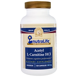 NutraLife, Acetilo L-carnitina HCl, 500 mg, 120 cápsulas