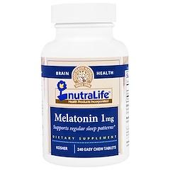 NutraLife, Melatonina, 1 mg, 240 tabletas fáciles de masticar