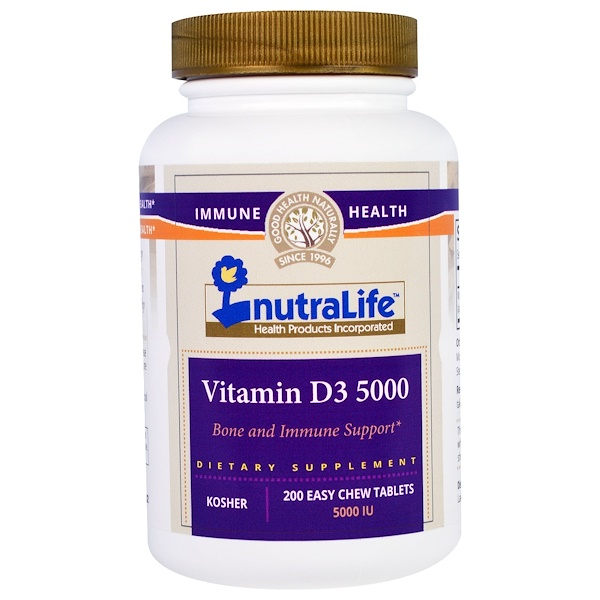 NutraLife, Vitamin D3, 5000 IU, 200 Easy Chew Tablets (Discontinued Item)