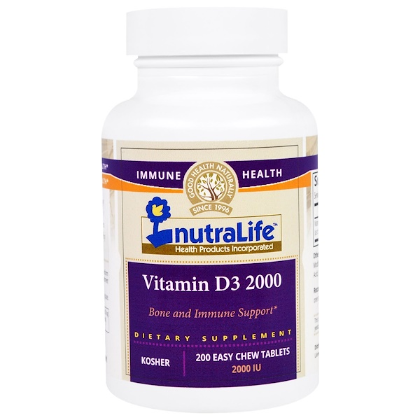 NutraLife, Vitamin D3, 2000 IU, 200 Easy Chew Tablets (Discontinued Item)