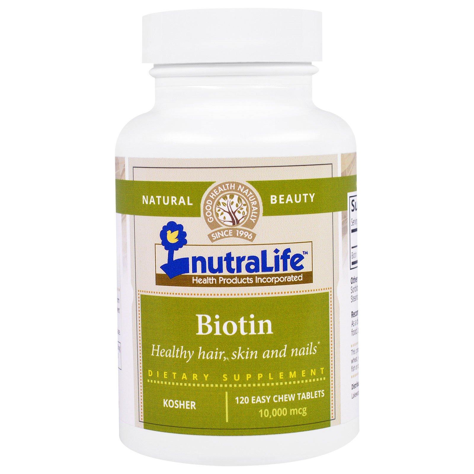 Nutralife Biotin 10000 Mcg 120 Easy Chew Tablets 100 Natrol