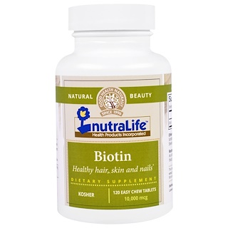 NutraLife, Biotin, 10,000 mcg, 120 Easy Chew Tablets