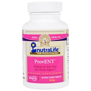 NutraLife, ProvENT with Blis K12, 20 mg, 30 Easy Chew Tablets