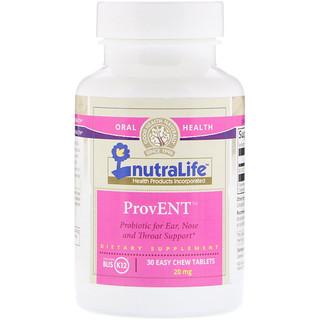 NutraLife, ProvENT com Blis K12, 20 mg, 30 Comprimidos Mastigáveis