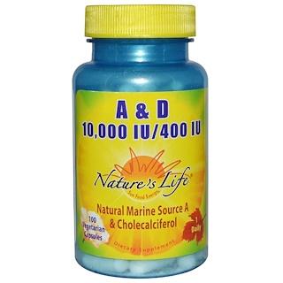 Nature's Life, A & D 10000 وحدة دولية / 400 وحدة دولية، 100 كبسولة نباتية