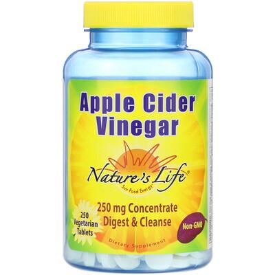 Nature's Life Apple Cider Vinegar, 250 mg, 250 Vegetarian Tablets