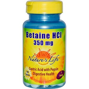 Натурес Лифе, Betaine HCL, 350 mg, 100 Tablets отзывы