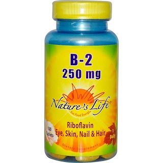 Nature's Life, B-2 リボフラビン、 250 mg、 100錠