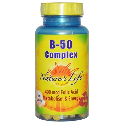 Купить Nature's Life Комплекс B-50, 100 таблеток