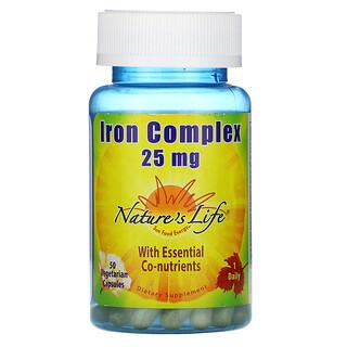 Nature's Life, Iron Complex, 25 mg, 50 Vegetarian Capsules
