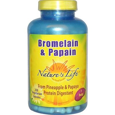 Бромелайн и папаин, 250 вегетарианских капсул