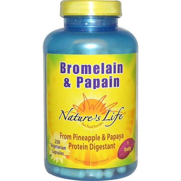 Nature's Life, Bromelaína y Papaína, 250 Cápsulas vegetarianas