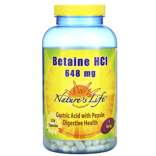 Nature's Life, Betaine HCL, 648 mg, 250 Capsules
