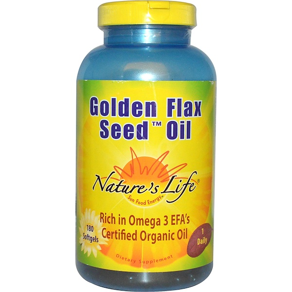 Nature's Life, Golden Flax Seed Oil, 180 Softgels (Discontinued Item)